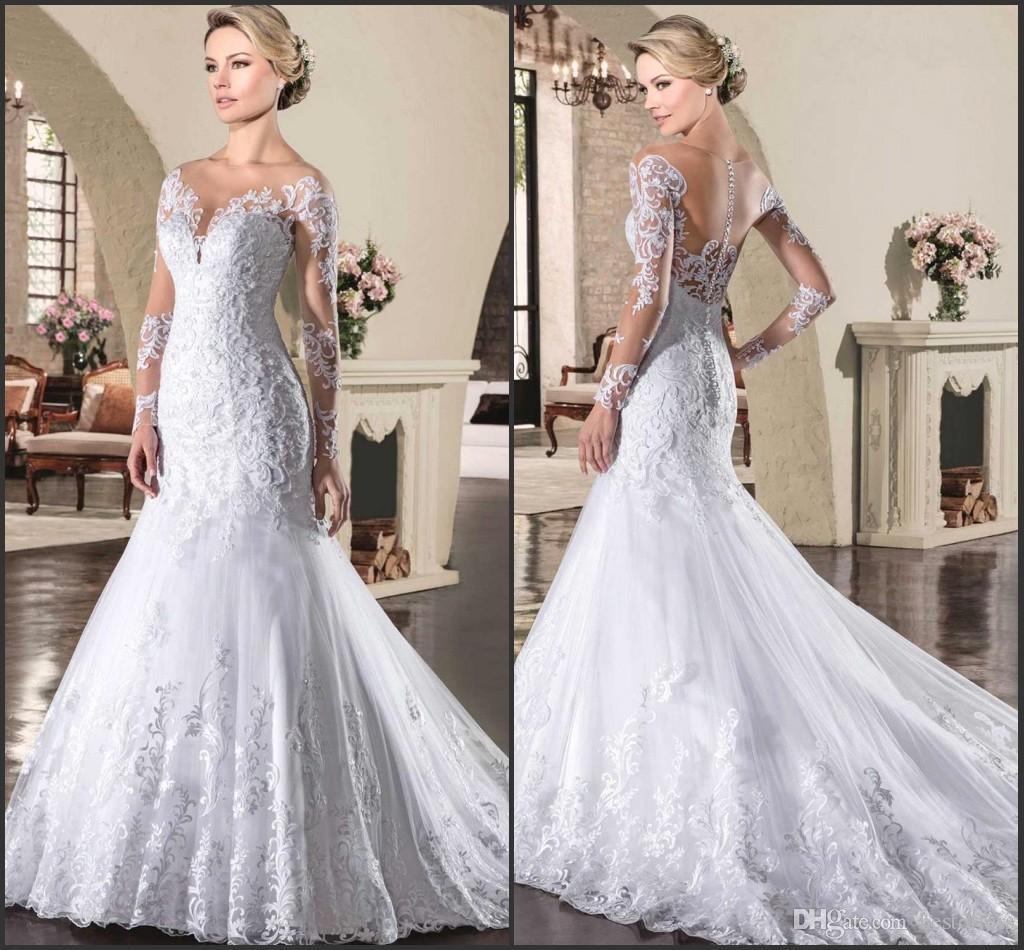 French Lace Mermaid Wedding Dress: Long Sleeve Russia Vestido De Novia 2017 New Mermaid