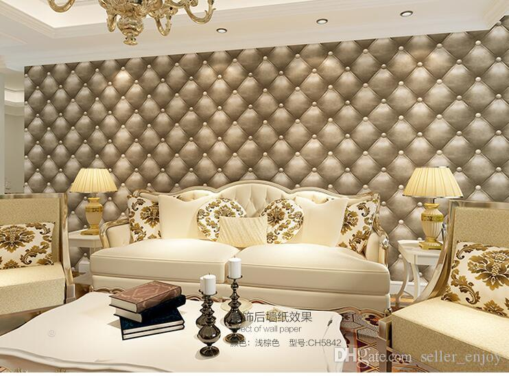 5.3sqm Three-dimensional faux leather soft bag wallpaper white bedside sofa tv background wall wallpaper