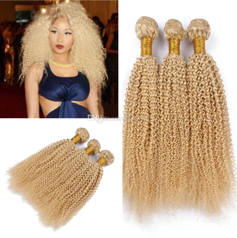 Pure Color Blonde Hair Weaves 613 Kinky Curly Hair Extensions 3Pcs lot Blench Blonde 613 Afro Kinky Curly Human Hair Bundles for woman