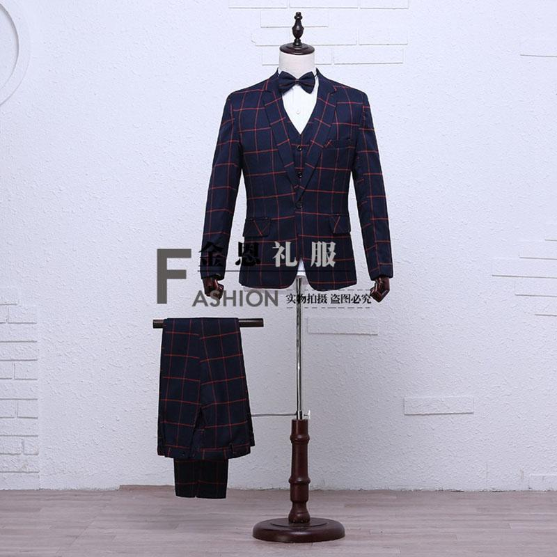 Hot Sale 2016 Men's Long Sleeves Grid Suit Costumes Wedding Evening Party Performance costumes For Men