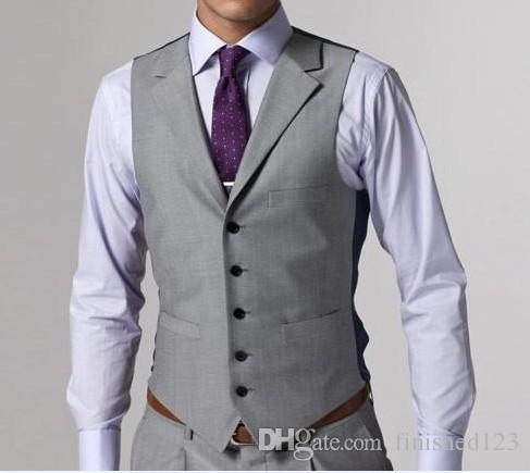 Hohe Qualität Hellgrau Side Vent Bräutigam Smoking Kerbe Revers Groomsmen Bester Mann Mens Hochzeitsanzüge Bräutigam Jacket + Pants + Vest + Tie D: 62