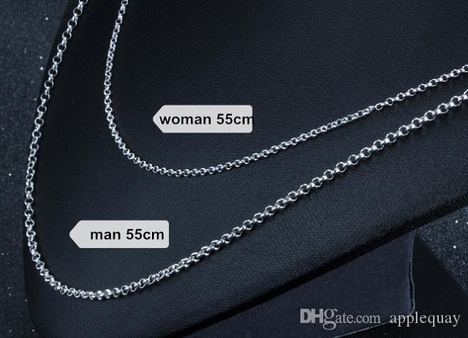 925 sterling silver chains for jewelry necklaces diy cross link chain woman man chokers white gold fashion new arrive summer for lovers