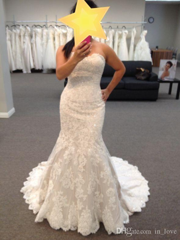2019 New Charming Full Lace Wedding Dresses Strapless Sparkly Lace up Back Sweerp Train Bridal Gowns Custom Size