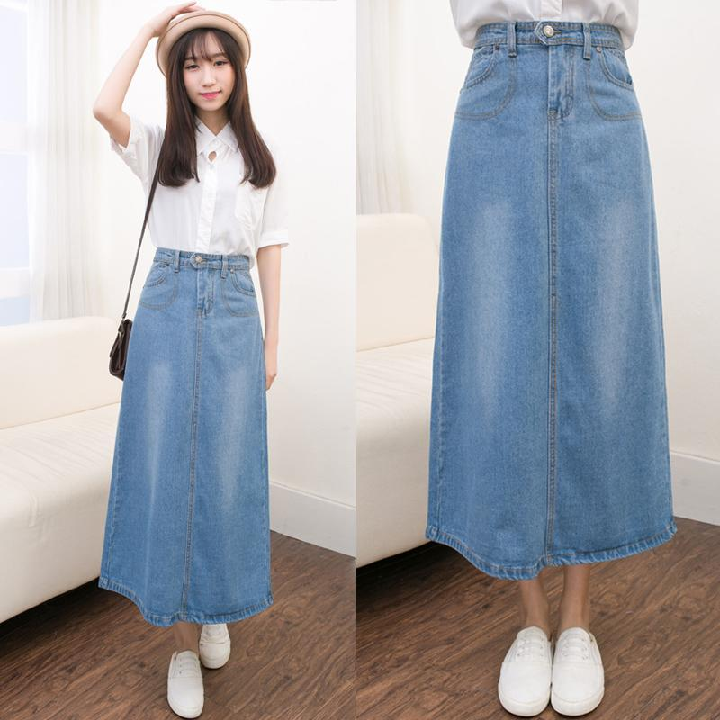 2018 women denim long skirts plus size denim skirts high waist