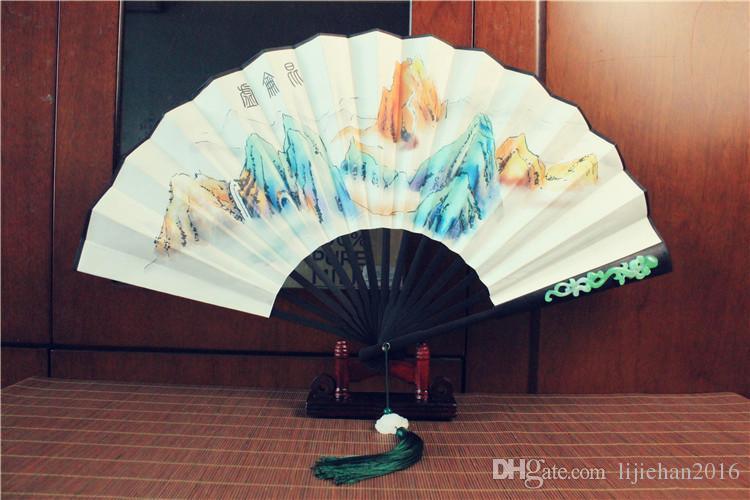 Popular de la TV china apoyos ventilador al Cielo Unido / Amor eterno de papel de arroz de madera plegable Kunlun mano abanico pintado abanico plegable Apoyos antigua