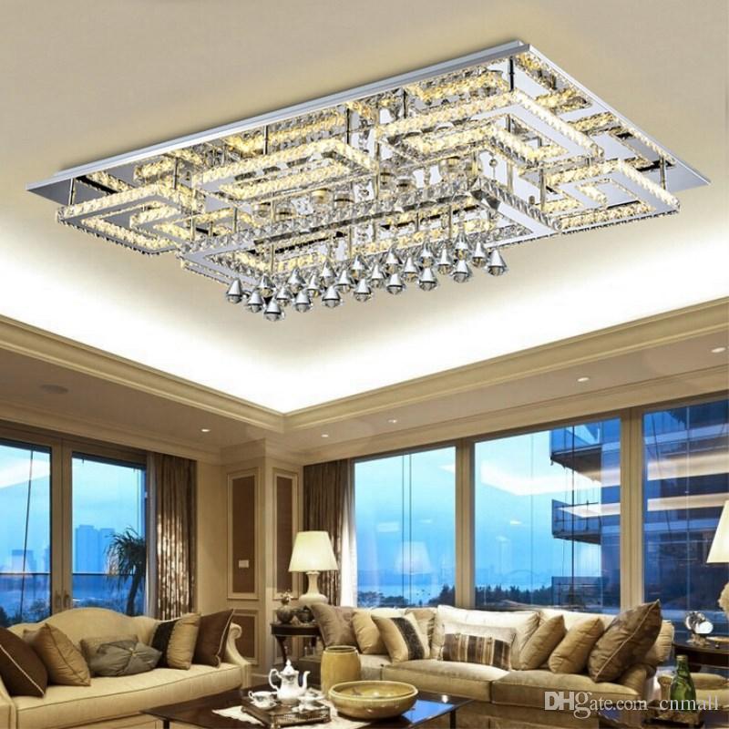 47cf9df26a3 Luminária de teto de tecto de luxo moderno de luxo Luminária de teto  quadrada K9 Lustres de teto de cristal para sala de estar Luminária de  quarto ...