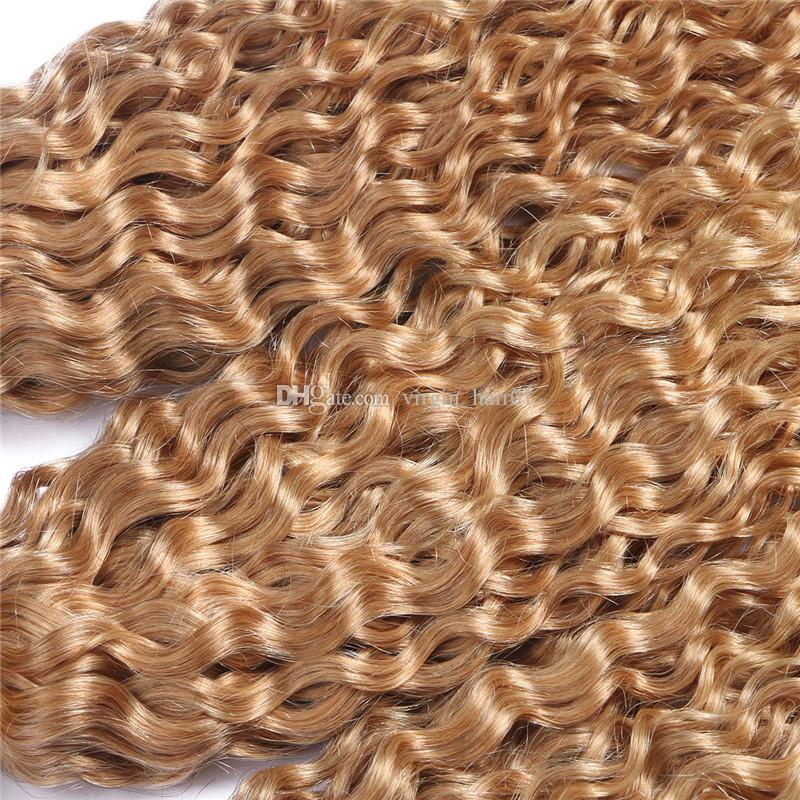 Strawberry Blonde Afro Kinky Curly Human Hair Weave Virgin Brazilian Hair Wefts #27 Blonde Kinky Curly Hair Extensions