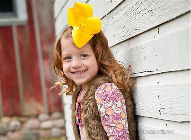Bambino 8 pollici grande nastro del grosgrain arco tornante clip ragazze grande bowknot barrette bambini capelli boutique archi bambini accessori capelli kfj133