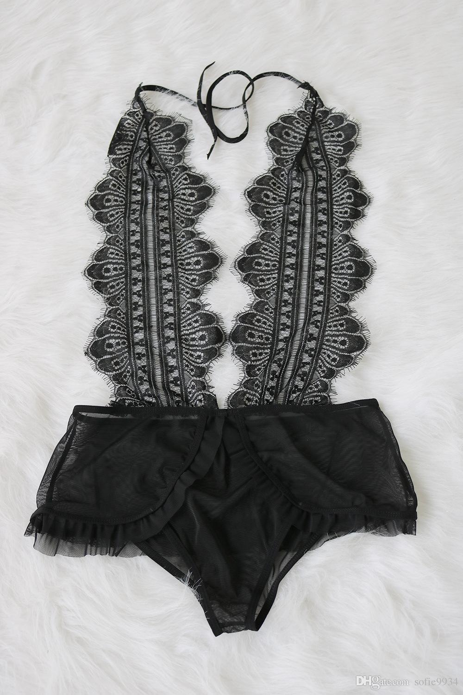 New Fashion Women Cute Trim Panties Black Soft Bralette Sexy Lace Deep V Push Up Adjustable Straps Bodysuit
