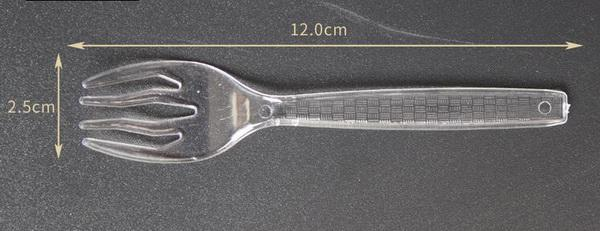 500 adet / grup, 12 cm Şeffaf Tek Kullanımlık plastik Kavisli diş çatal Kek Tatlı Meyve çatal Dört Diş Entegre Çatal