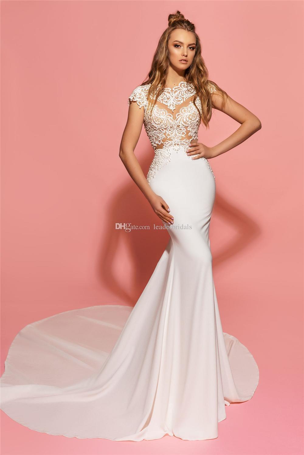 Backless Wedding Dresses Mermaid Cap Sleeves Sexy Lace Wedding Dress ...