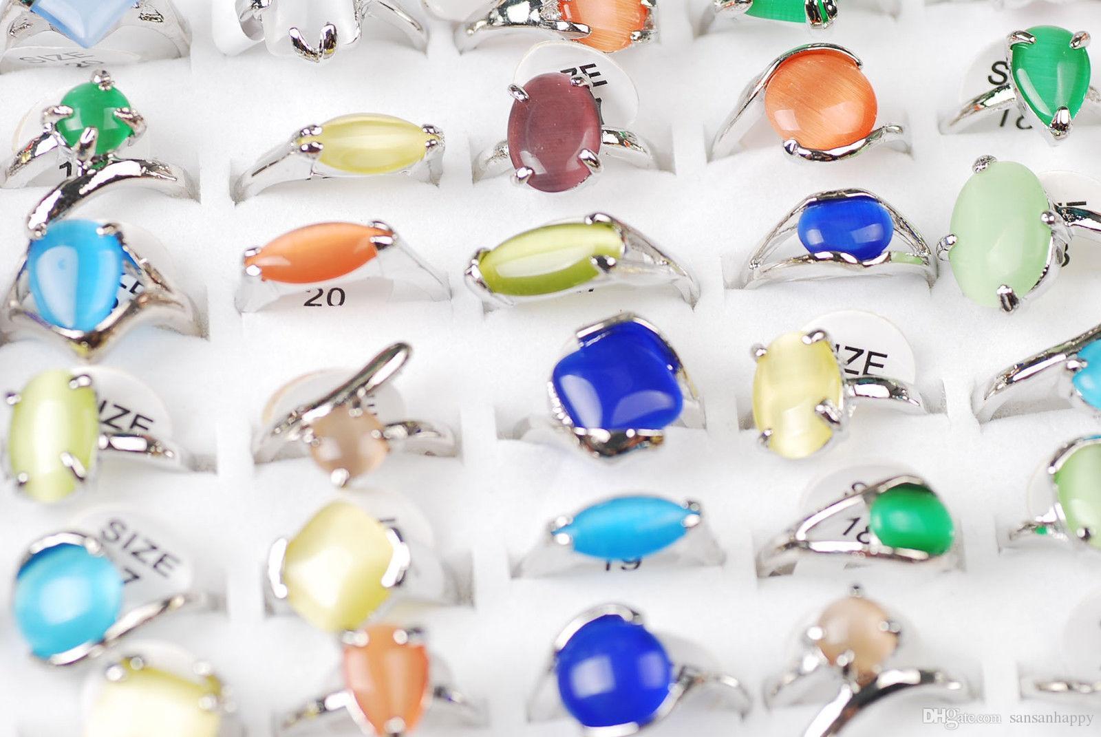 Hurtownie 100 sztuk Cat Eye Gemstone 925 Srebrne pierścienie Różne kolory Ślub w tym Dispalion Box