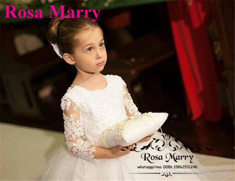 Principessa Ball Gown maniche lunghe Flower Girls Abiti matrimoni 2020 Vintage Lace Beaded Knot Bow Lunghezza caviglia Ragazze prima comunione Gown