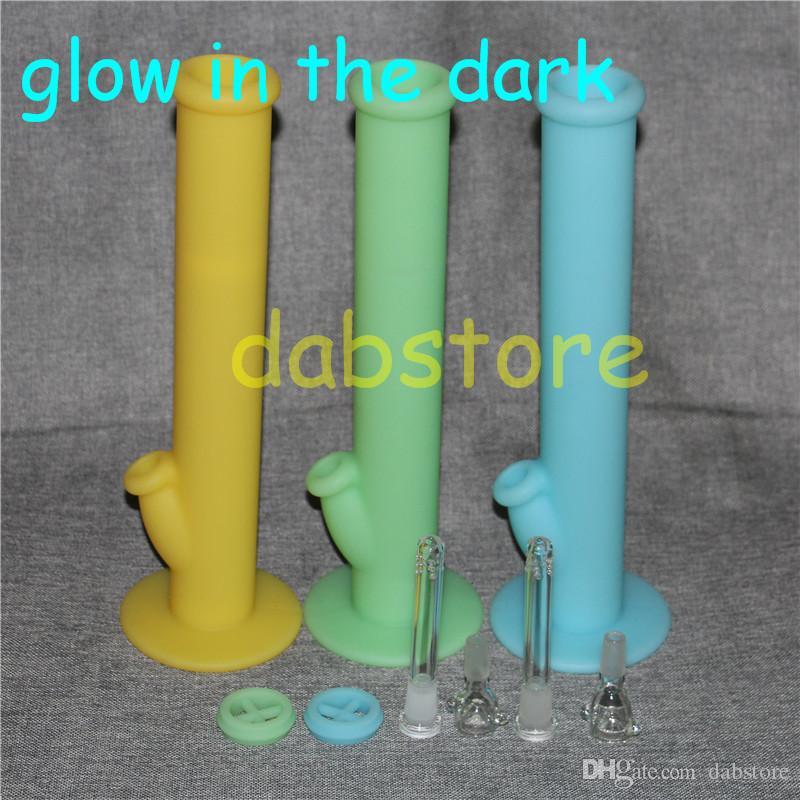 lueur dans le verre de pipe à eau en silicone noir bongs en verre joint 14,4mm sans accessoires en verre navire libre