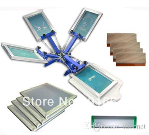 FAST and FREE shipping! 4 color silk screen printing kit t-shirt printer  press equipment carousel stretched frame squeegee