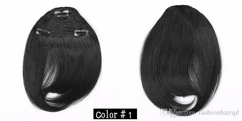 Clip de pelo humano en el pelo Bangs franja humana Bold Blunt Natural Hairpiece Indian Virgin extensiones de cabello es elegir