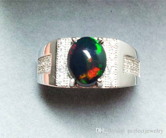 Men Ring Natural Opal Ring Natural Real Opal 925 Sterling Silver