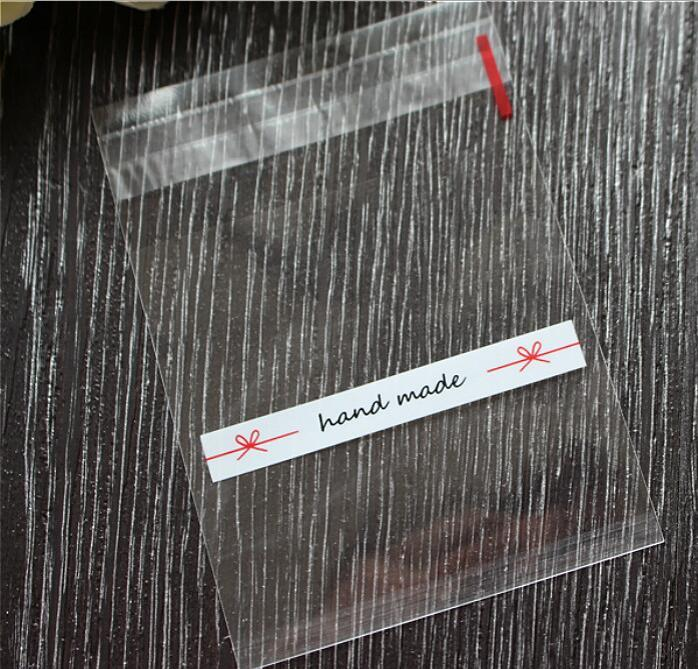 El yapımı yay Temizle Çerez Paketleme Bisküvi Çerez Pişirme için Temel Şeffaf Plastik Torbalar Packag 7 * 7 + 3 cm