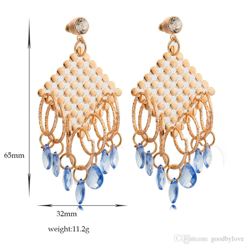 Oversize 18K Yellow Gold Plated Loops Blue Gem Stone Charms Tassels Stud Earrings for Women Party Gift