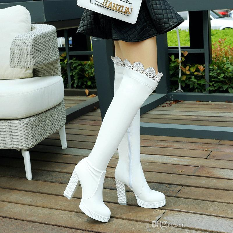 boots 2018 new arrival to the thin and fashionable long tube PU lady over-the-knee boots, autumn and winter sexy women's shoes, big s