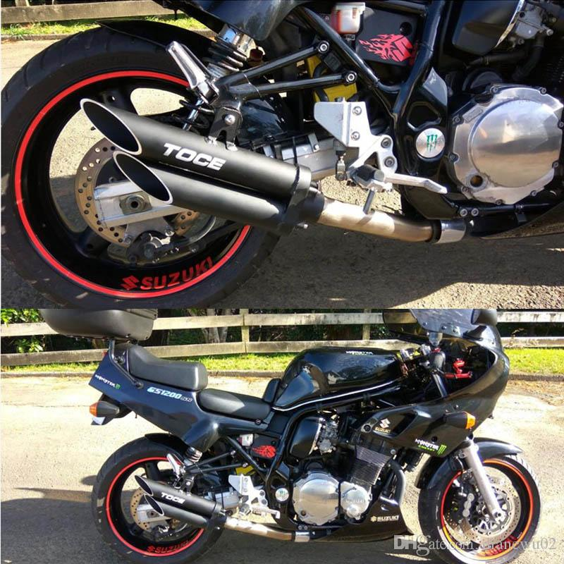 51mm NEW Universal Motorcycle Exhaust Muffler Double Tube Black Box TOCE z800 bn300 zx10r R1 R3 NINJIA250 CB40 CB400 YA004