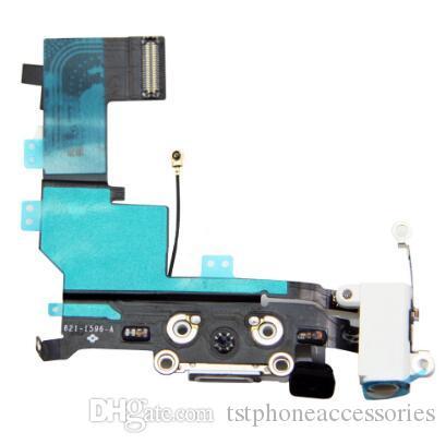 Yüksek Kaliteli Ses Jack USB Şarj Şarj Dock Dock Bağlantı Flex Kablo iPhone 5 S için siyah / beyaz