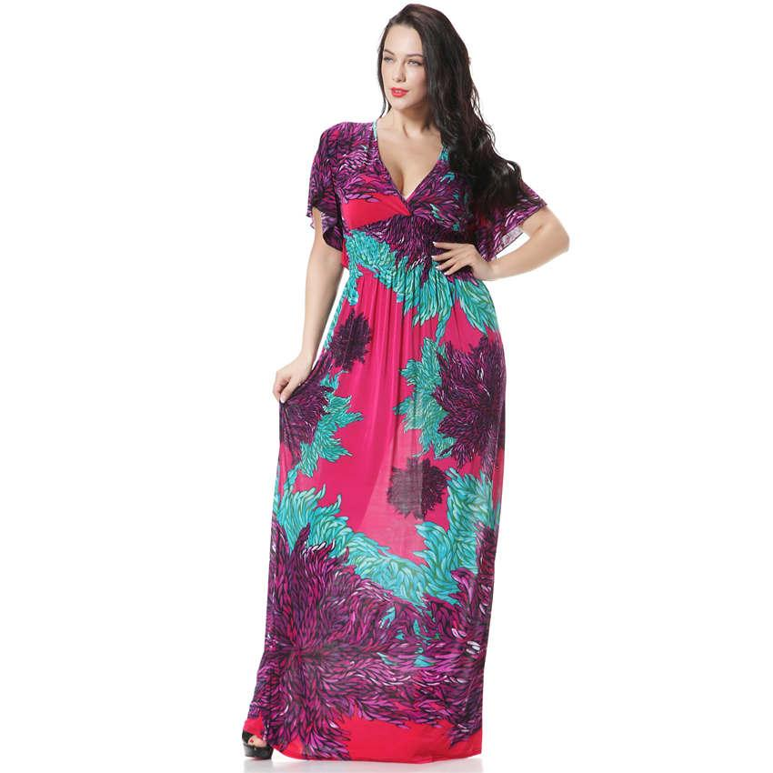 bf5749f6a12fd 2019 Wholesale Robe Femme Ete 2017 Women Summer Beach Long Maxi Dress V  Neck Plus Size Bohemian Printed Floral Dress Elbise Evening Party Dress  From ...