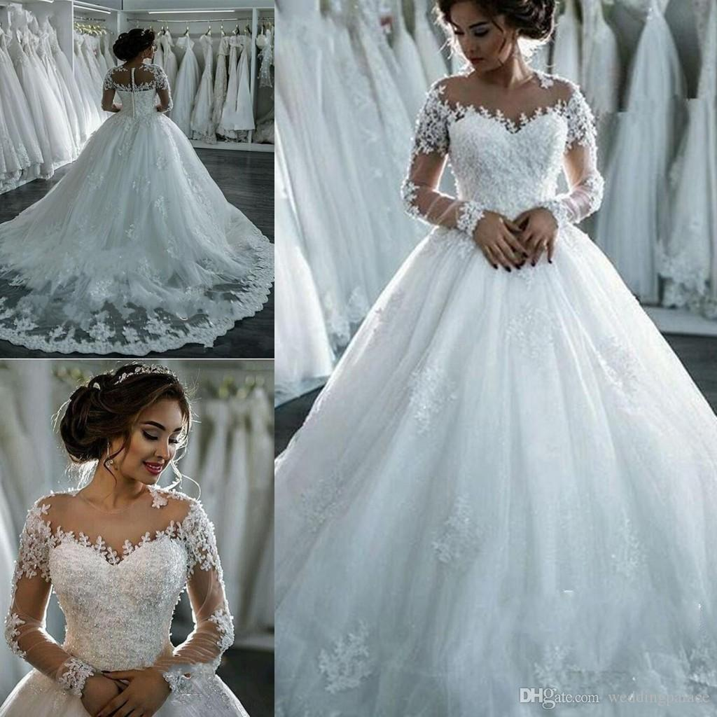 Elegant Jewel Neck Ball Gown Wedding Dresses Long Sleeve Appliques ...