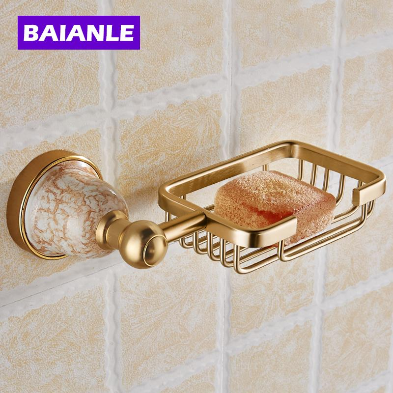 2018 Luxury Golden Polished Bathroom Soap Basket Holder Solid Aluminum Soap  Dish Wall Mounted Modern Bathroom From Kaiyue608, $71.26 | Dhgate.Com