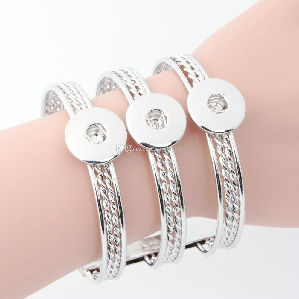 Button Jewelry Simple Lines Hollow One Direction Metal snap Bracelets For Newest 18mm Snap Button Bangle cuff