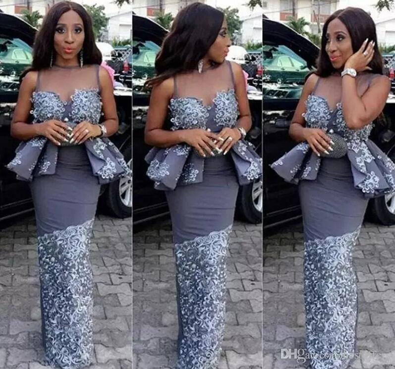 2017 Gaine Longue Robes De Soirée Sheer Jewel Neck avec Vintage Dentelle Nigérians Robes De Bal Unique Style Robe De Soirée Pageant Robes