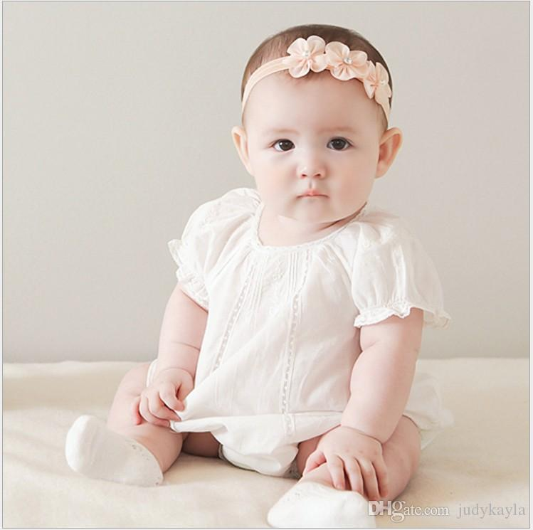 2017 New Baby Floral Pearl Hair Bands Infant Photography Props Newborns Lace Net Yarn Hair Accessories Baby Headbands Kids Headwear