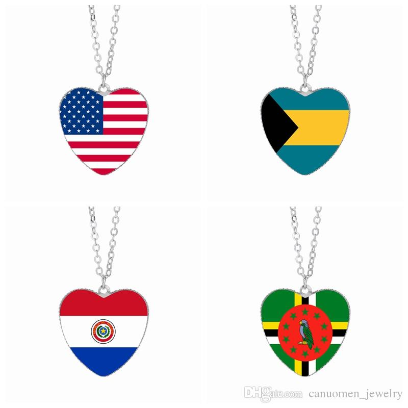 US Flag Anhänger Halsketten 25mm Herz Glas Cabochon Bahamas Paraguay Dominica Amerika Flags Frauen Schmuck Großhandel