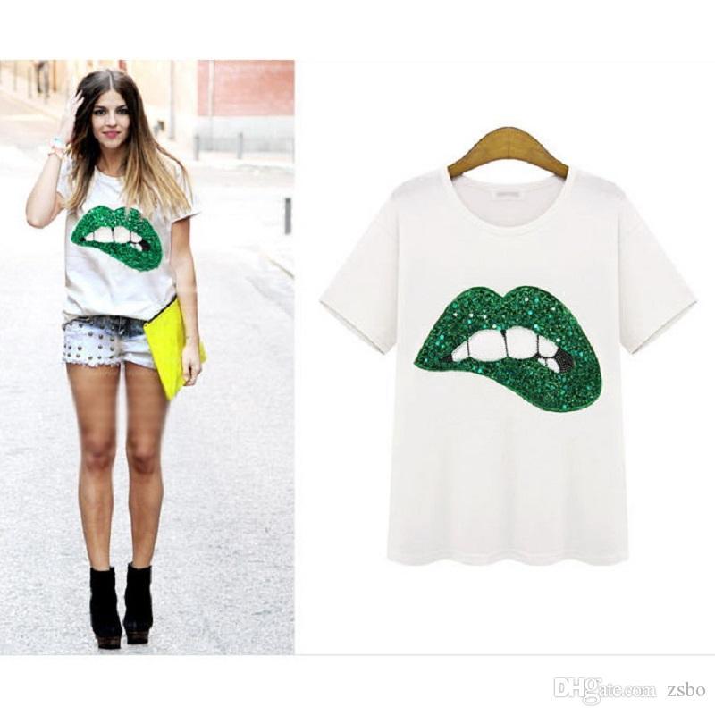 2017 kadın t-shirt Seks Yeşil Kırmızı Dudaklar baskı moda ZSIIBO marka yeni t-shirt kısa kollu o-boyun tops tees artı boyutu beyaz rahat NV35-F