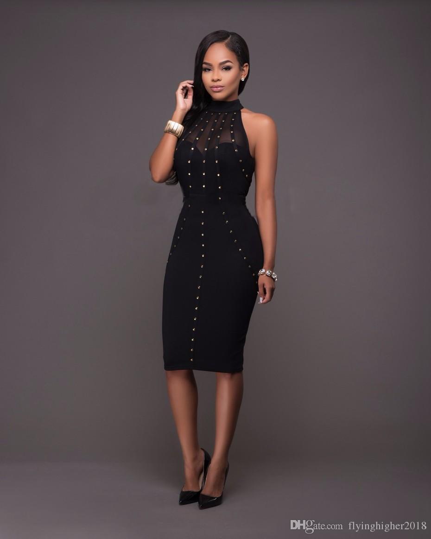Summer Dress 2017 Womens Sexy Dresses Party Night Club Wear Ladies Bodycon Black Red Mesh Pencil Midi Dress Vestidos