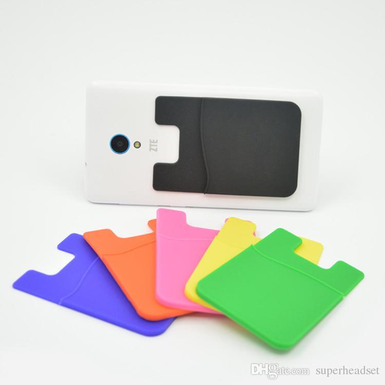 Estuche para teléfono celular de silicona Estuche para billetera de teléfono Titular de tarjeta de identificación de crédito Palo de bolsillo en 3M Adhesivo con bolsa opp