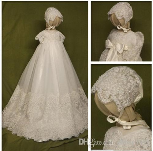 15813f703e1f3 2019 Luxury High Quality Baby Girls Christening Gown Beading Lace Short  Sleeves Solid White Ivory Toddler Girls Baptism Gowns With Bonnet From  Dhbay1991, ...