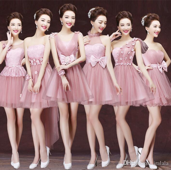 Compre Polvorientas Dama De Honor Rosa Princesa Hermosa 8 Bridemaids ...