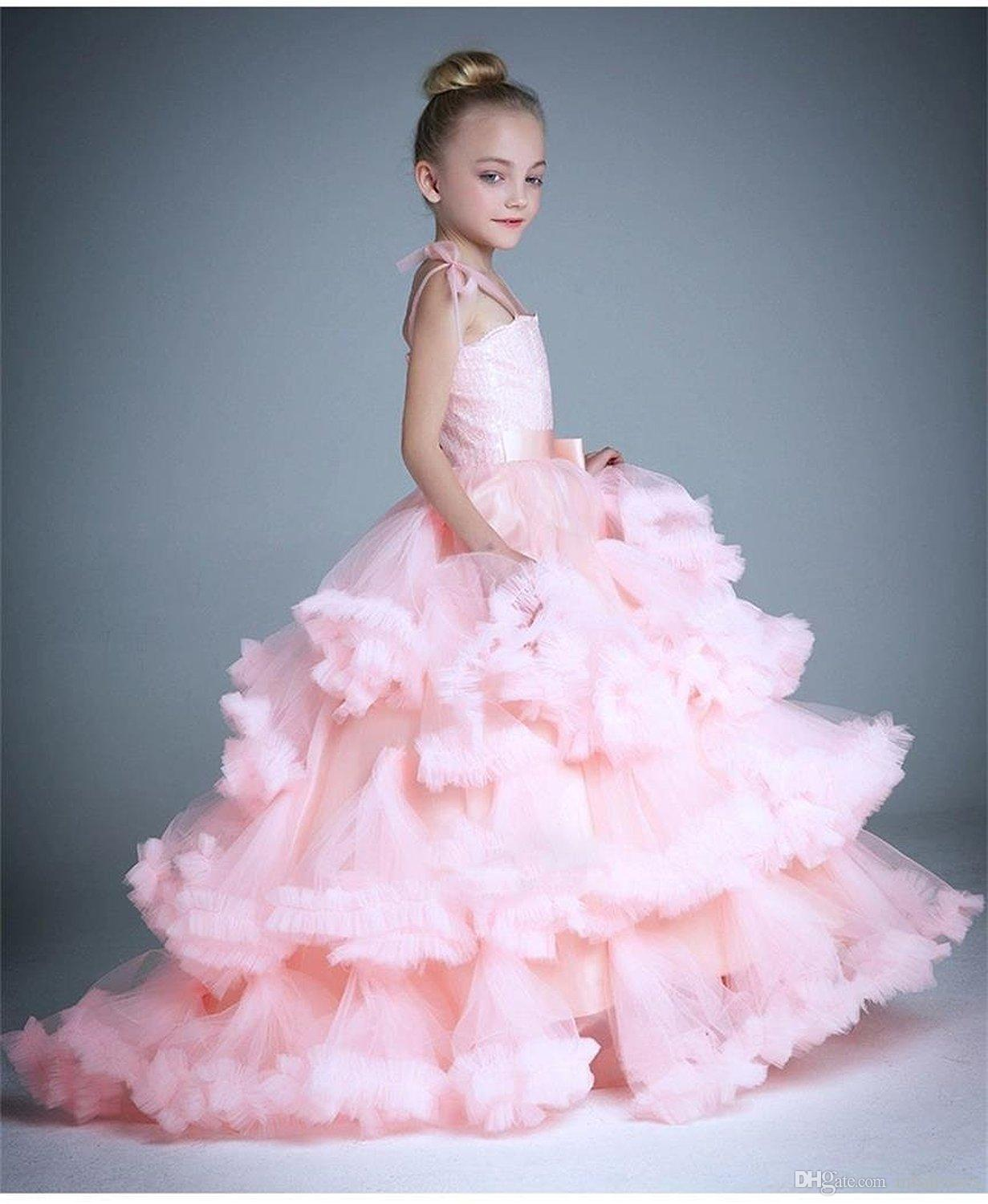 Cloud little flower girls dresses for weddings baby party frocks sexy children Dress kids puffy prom party dresses 2017 girls pageant dress