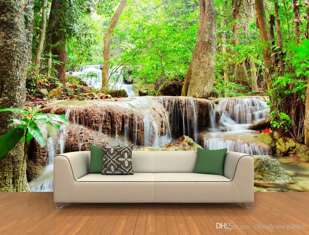 3d high definition quiet forest waterfall background wall murals see larger image