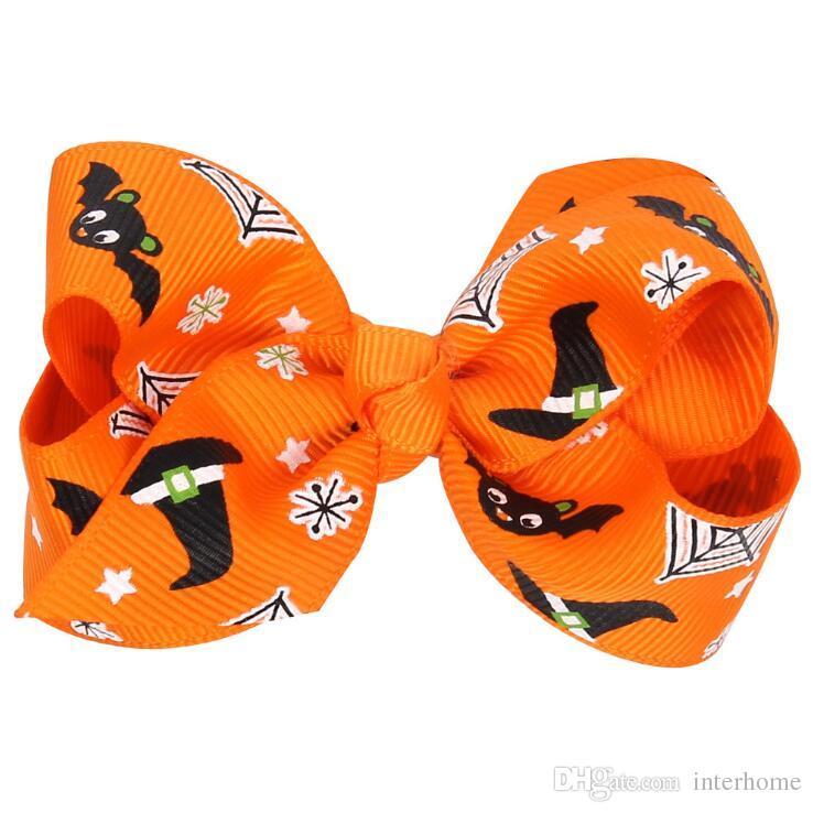 14 Conception Filles Halloween Pumpkin Barrettes Barrettes Princesse Layered Arc Cheveux Clips Ruban Bowknot Enfants Araignée Cheveux Accessoires D431