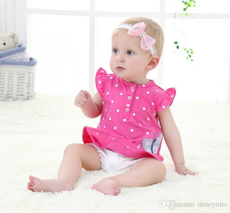 2017 Hot Newborn Baby Girls Boys Clothes Baby Bodysuit Romper Set Infant Pajamas Shortsleeve Bodysuit Outfits Set Lovely Gift for Kids
