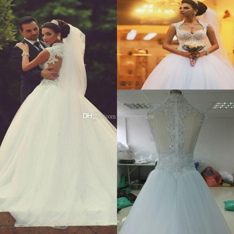 2017 Vintage Lace Ball Gown Wedding Dresses Arabic Sweetheart Beads ...