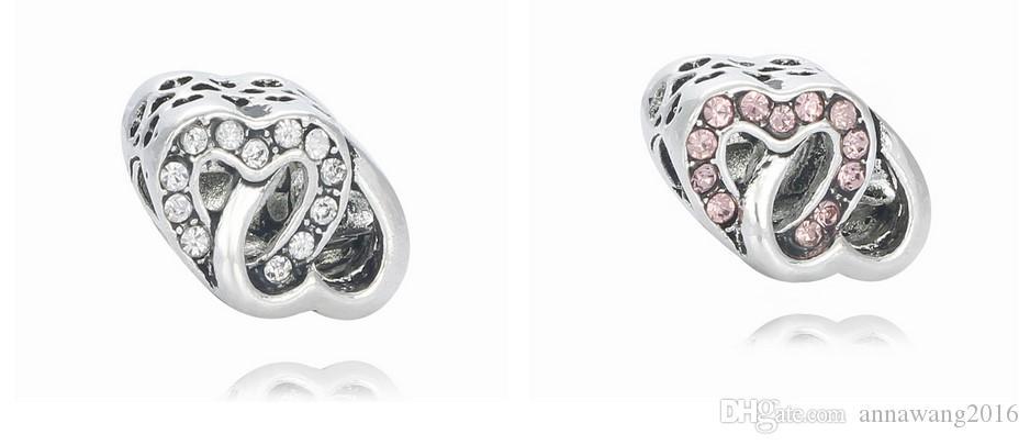 يناسب الاسترليني الفضة سوار عيد الأم مزدوجة القلب حفرة كبيرة الخرز سحر ل diy النمط الأوروبي الأفعى سحر سلسلة الأزياء diy مجوهرات