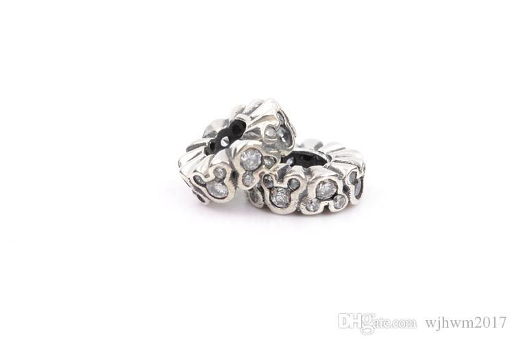 Cartoon Spacer Charms Perlen Original 925 Sterling-Silber-Schmuck Clear Crystal Micro Pave Charm Stopper Perle Passt DIY Marke Armband