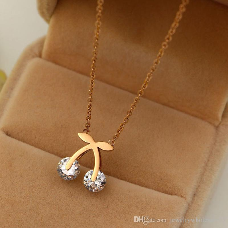 Korean girl cute bow clip double drill short chain fashion titanium plated 14K clavicle rose gold necklace female