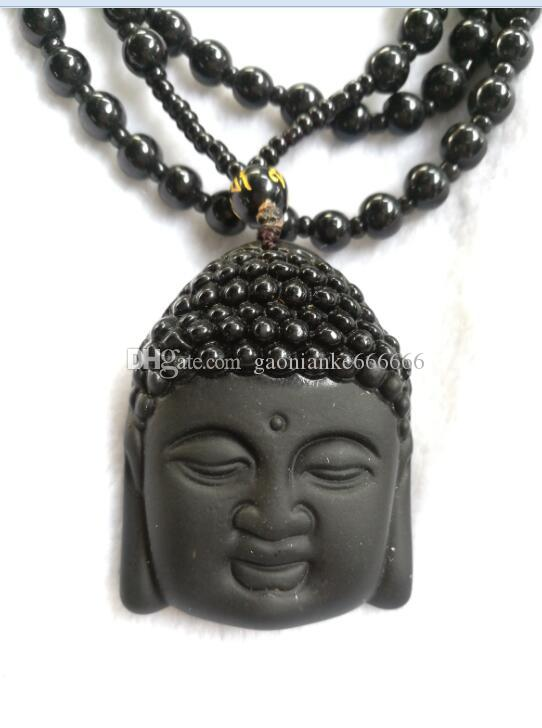 Natural Obsidian Necklace Fashion Black Ruyi Buddha Pendant For Women Men Vintage Fine Jade Jewelry Ornaments D4