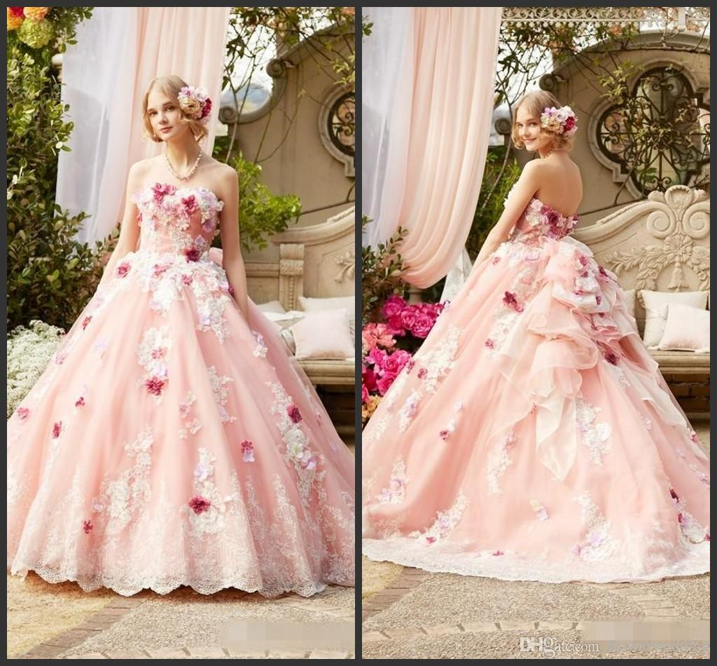 Compre Princess Pink Ball Gown Wedding Dresses 2018 Por Encargo 3d ...