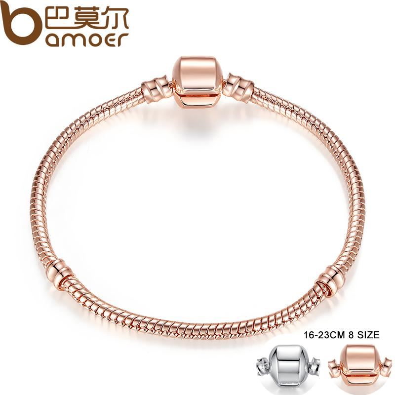 2018 Pandora Style Rose Gold Color Silver Snake Chain Bracelets