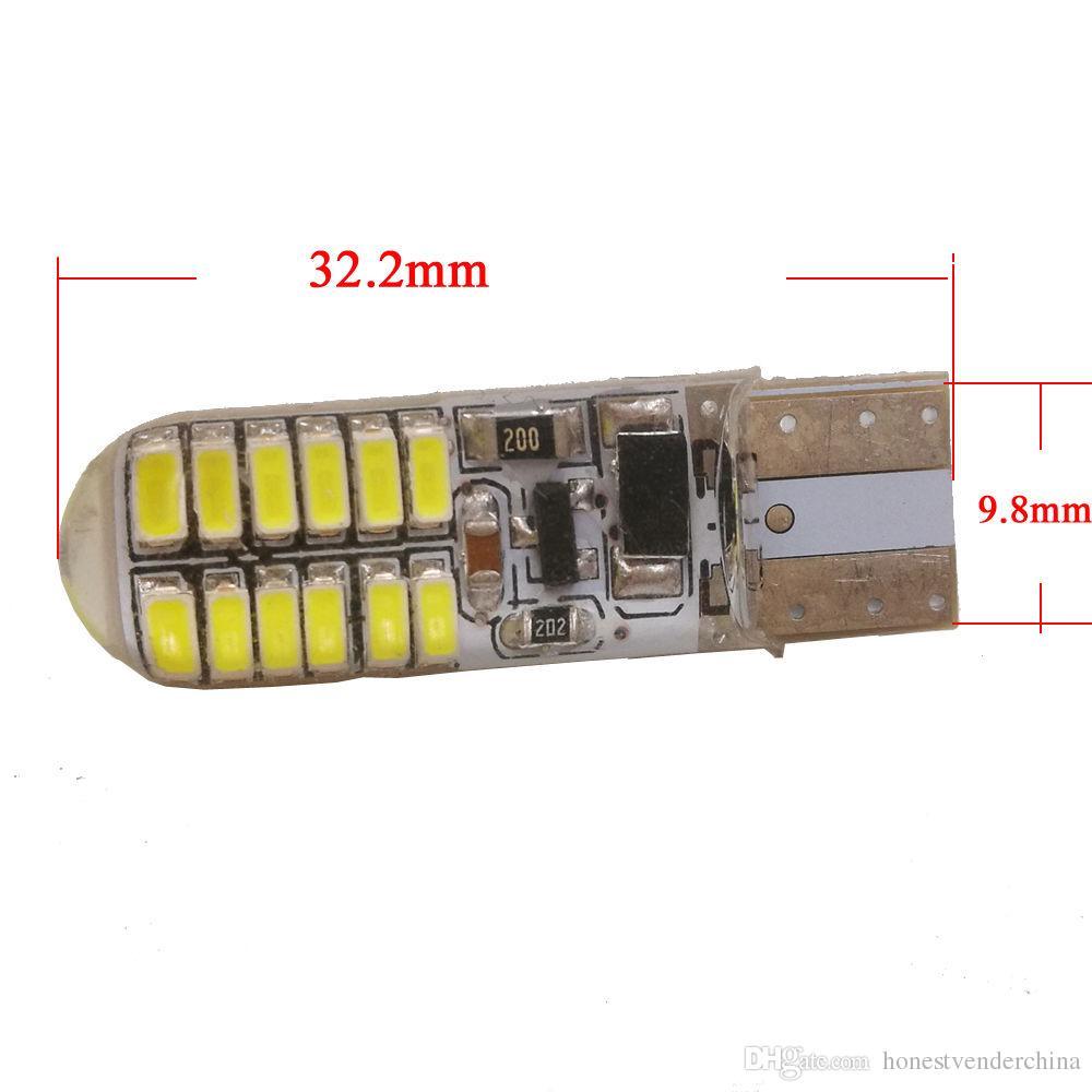 10X T10 W5W 194 168 3014 24 SMD Silica gel del LED dello stroboscopio lampadine 12V DC